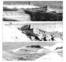 Фото 3, 4, 5. Монументальные конструкции различных форм вокруг Кайласа